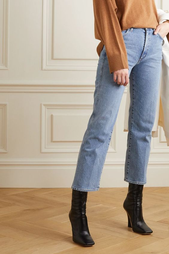 Straight leg jeans and boots